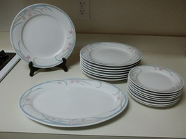 Gibson Stoneware Dinnerware Blue W Pink Flowers 16 Plates and Platter - $108.89