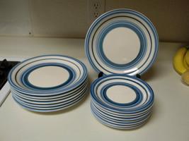 Gibson Housewares Stoneware ~ Caramelo Blue ~ 16 Piece Plate Set ~ NEW - $98.99
