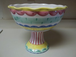 Mesa International Ceramic 2 Piece Pedestal Bowl Warner Blue Yellow Gree... - $1.189,20 MXN