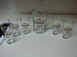Libbey Always Refreshing Lemonade Glass Pitcher & 5 Glasses  - $59.39