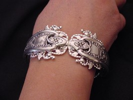 Antique Old Colony Hinged Cuff Bracelet Triple Plated Sterling Silver Forks! - $67.54