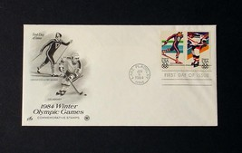 NRMT FDC 1984 WINTER OLYMPICS 2 20 CENT STAMPS ICE HOCKEY & CROSS COUNTR... - $3.99