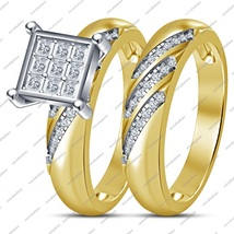 Women's Engagement Ring Bridal Set In White Cz Round Cut 14K Gold Fn. 92... - $90.99