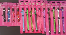 """CAT COLLARS BREAK-AWAY BUCKLE & BELL 7-12"""" SELECT Color Jeweled Nylon Re... - $2.99"""