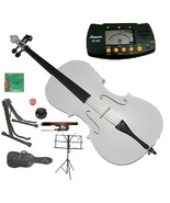 4/4 Size White Cello with Bag and Bow+Extra Strings+2 Stands+Tuner+Rosin... - $145.00