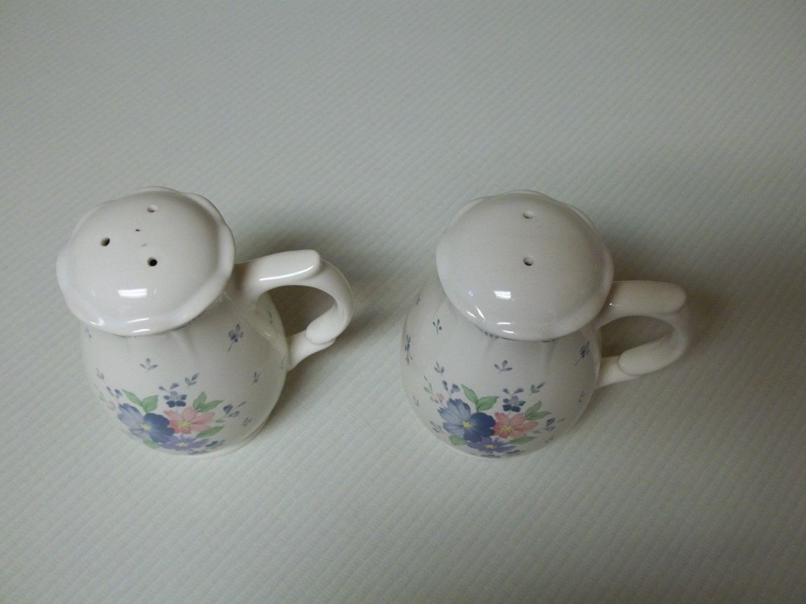 Nikko Japan Dauphine Salt & Pepper Shakers Blue & Flowers Stoneware