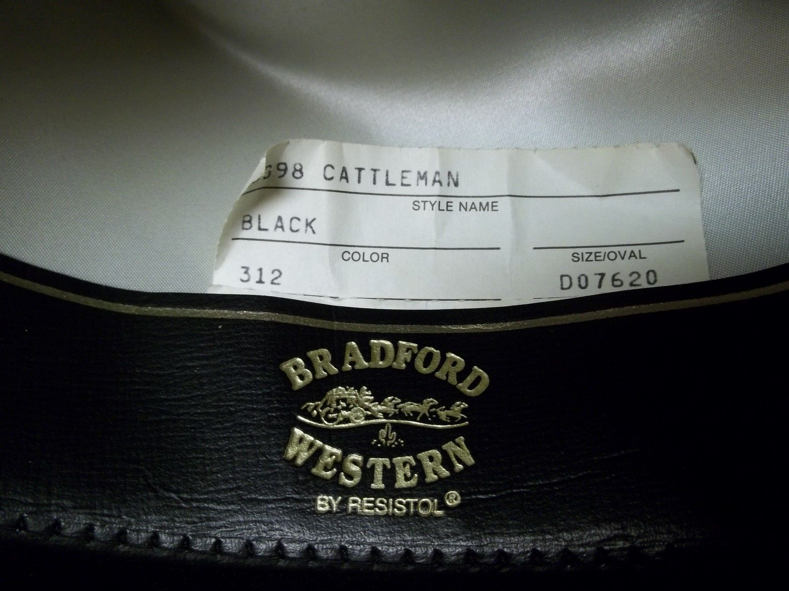 Bradford Western Resistol Cattleman Black Hat Log Oval 6 3/4