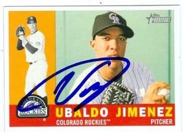 Ubaldo Jimenez autographed Baseball Card (Colorado Rockies) 2009 Topps H... - $16.00