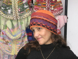 Beanie hat made of alpaca wool & hand-embroidery, cap  - $36.50