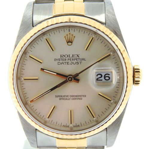 Men Rolex Two-Tone 18K Yellow Gold/Stainless Steel Datejust Jubilee Silver 16233