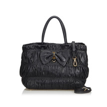 Authentic Prada Black Gathered Leather Bow Satchel Italy - $599.26