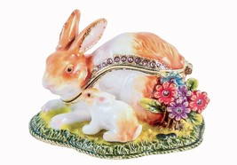 Bunny with Baby on Grass Trinket Box, Topaz Swarovski Crystal, Hand Pain... - $44.99