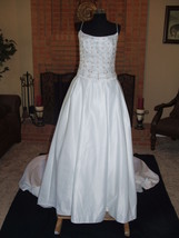 NWT $ 2800 MOONLIGHT BRIDAL whte gold Accent Wedding Gown Formal Train s... - $494.99