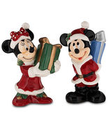 Disney Santa Mickey Mouse & Minnie Mouse Salt & Pepper Shakers Presents NEW - $15.00