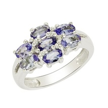 925 Sterling silver rings, Indian women wedding ring with natural tanzanite gems - $36.80