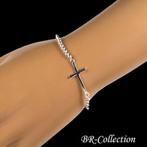 Pure Sterling Silver Stretch Bracelet with Silver Cross - $19.75