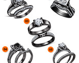 Black Gold Plated 925 Silver 5-Piece Combo Jewelry Bridal Engagement Ring Set - $6.540,82 MXN