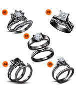 Black Gold Plated 925 Silver 5-Piece Combo Jewelry Bridal Engagement Rin... - $439.99