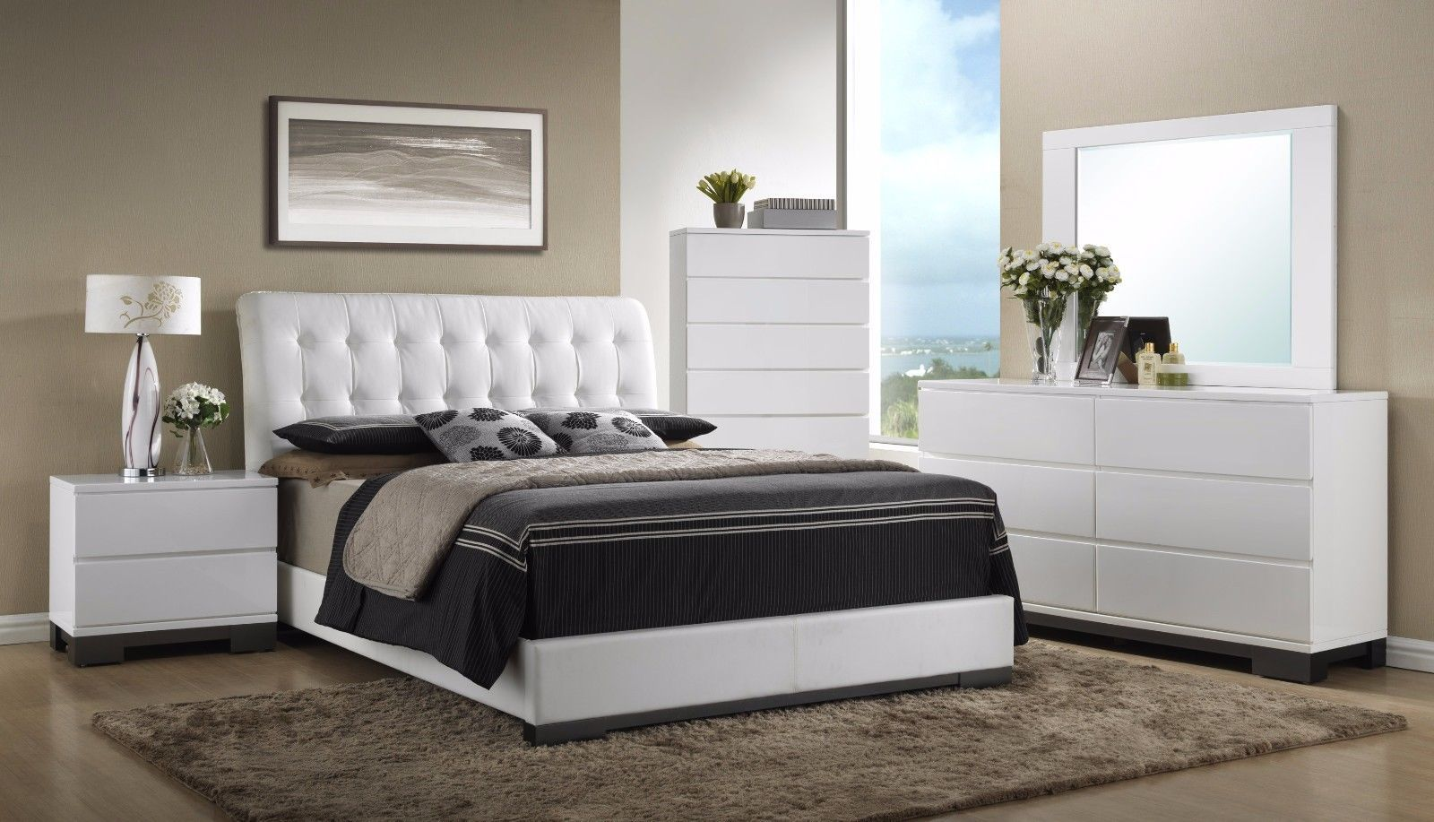 Crown Mark RB4850 Avery King Size Bedroom Set White Traditional 2 Night Stands