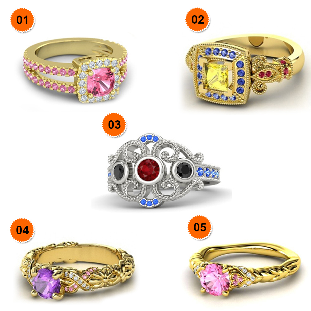 Primary image for Multi-Color 14k Gold Plated Pure 925 Silver 5 Pcs Disney Princess Combo Ring Set