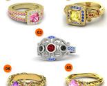 Multi-Color 14k Gold Plated Pure 925 Silver 5 Pcs Disney Princess Combo Ring Set - £158.05 GBP