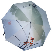 Ink and Wash Vinyl Sunscreen Umbrella    cyan hills remote green - $18.99
