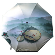 Ink and Wash Vinyl Sunscreen Umbrella    red and green - $18.99