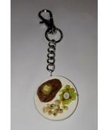 Steak Plate Keychain Dinner Food Clip On Charm Potato Salad - $7.00