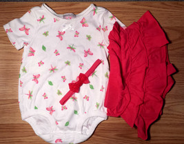 Girl's Size 12 M 9-12 Months 3 Pc White Carter's Butterfly Top, Pink Ski... - $15.00