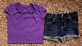 Girl's Size 9 M 6-9 Months Two Piece Purple PLACE Top & Denim Koala Kids Shorts - $14.50