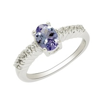 925 Sterling silver rings royal party wear natural tanzanite & white top... - £14.34 GBP