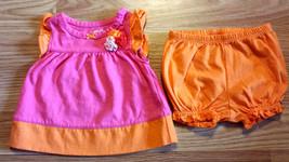 Girl's Size NB Newborn Two Pc Carter's Pink/ Orange Floral Ruffle Dress, Bloomer - $14.00