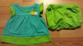NWOT Girl's NB Newborn Months Two Piece Carter's Blue/ Green Floral Dress Set - $14.00