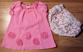 Girl's Size NB Newborn Pink Rosette Floral Ruffled Circo Dress & White F... - $14.00