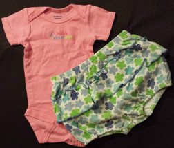 Girl's Sz 3/6 M Months 2 Pc Pink Daddy's Little Lady Top & Floral Bloome... - $14.00