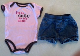"Girl's Size 6 M Months 2 Pc Pink ""I'm As Cute As My Aunt"" Carter's Top, ... - $14.00"