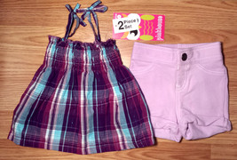 Girl's Size 12 M 9-12 Months 2 Piece Purple/ Blue Plaid NWT Cinched Top ... - $14.00