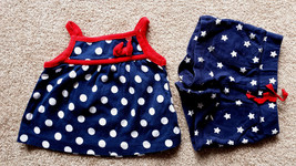 Girl's Size 6 M 3-6 Months 2 Pc Carter's Red/ White/ Blue Polka Dot Top ... - $14.00