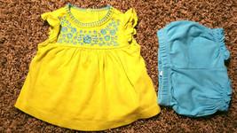 Girl's Size 3 M 0-3 Months 2 Pc Carter's Green W/ Blue Floral Dress & Bl... - $14.00