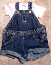 Girl's Size 0-3 M Months 2 Pc Blue Denim OshKosh Shorts Suspenders & Ger... - $14.00