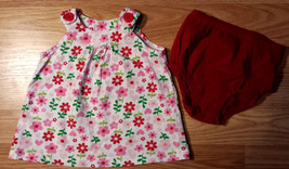 Girl's Size 6 M 3-6 Months Carter's White/Red Floral Dress & American Li... - $15.50