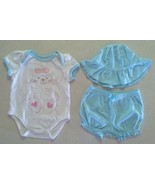 Girl's Sz 0-3 M Months 3 Pc Blue Small Wonders Bunny Top, Shorts, Bib & ... - $14.00
