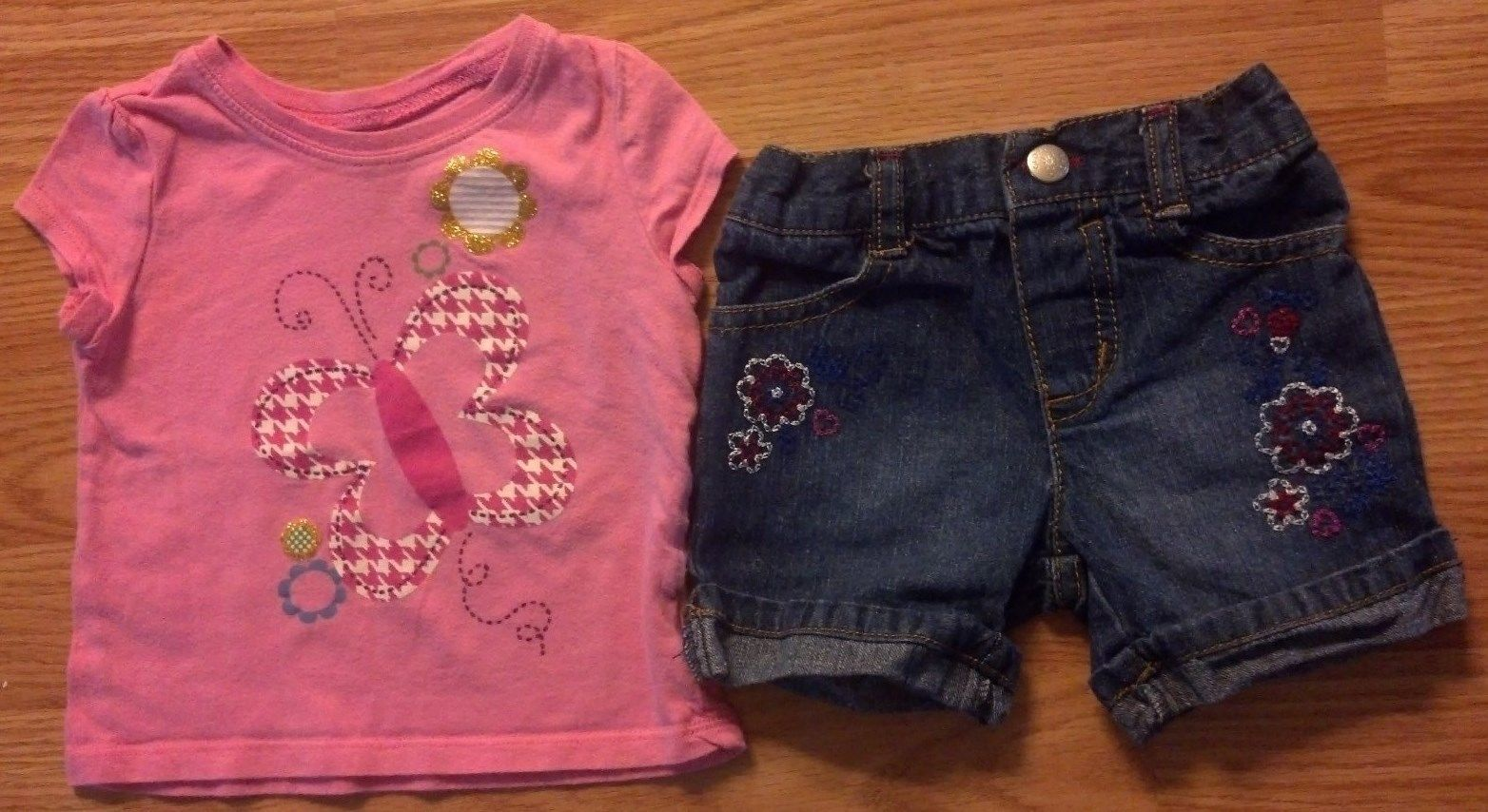 Girl's Size 12 M Months 2 Pc Pink Glitter Butterfly Floral Place Top, FG Shorts