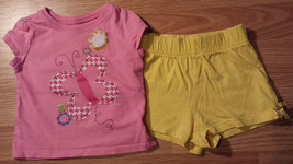 Girl's Size 12-18 M Months 2 Pc Pink Glitter Butterfly Floral Place Top, Shorts - $14.00