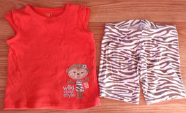"Girl's Size 12 M Months Two Piece Orange ""Wild About Style"" Monkey Top &... - $14.00"