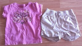 Girl's Size 3T Two Piece The Children's Place Pink Butterfly Top & Cream Shorts - $15.00