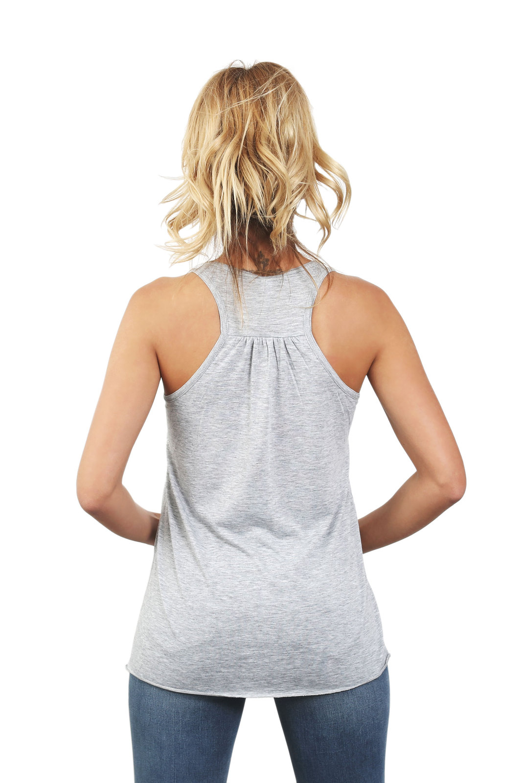 Thread Tank Good Mood Women's Sleeveless Flowy Racerback Tank Top Sport Grey