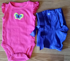 Girl's Sz 3 M Months 2 Pc Carter's Bright Pink Butterfly Tank Top, Purple Shorts - $15.50