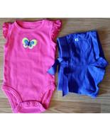 Girl's Sz 3 M Months 2 Pc Carter's Bright Pink Butterfly Tank Top, Purpl... - $15.50