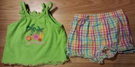 Girl's Sz 6-9 M Months 2 Pc Outfit TCP Green Beach Party Top, Garanimals Shorts - $15.50